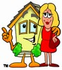 Cartoon House Character With Business Woman clipart