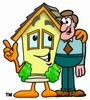 Cartoon House Character With a Businessman clipart