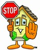 Cartoon House Character Holding a Stop Sign clipart
