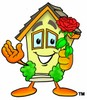 Cartoon House Character Holding a Flower clipart
