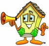 Cartoon House Character With a Megaphone clipart