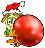 Cartoon House Character Beside a Christmas Tree Ornament clipart