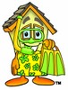 Cartoon House Character Wearing Scuba Gear clipart