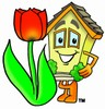 Cartoon House Character Beside a Tulip Flower clipart