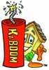 Cartoon House Character Beside a Dynamite Stick clipart