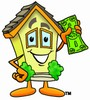 Cartoon House Character Holding Money clipart