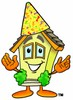 Cartoon House Character Wearing Party Hat clipart