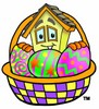 Cartoon House Character Beside an Easter Basket Full of Eggs clipart