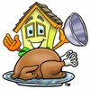 Cartoon House Character With Thanksgiving Turkey clipart