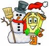 Cartoon House Character Standing With a Snowman clipart