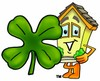 Cartoon House Character Standing With a Four Leaf Clover clipart