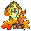 Cartoon House Character With Fall Leaves and Acorns clipart