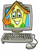 Cartoon House Character With a Computer clipart