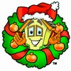 Cartoon House Character in a Christmas Wreath clipart