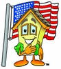 Cartoon House Character Pledging Allegiance clipart