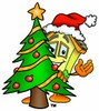 Cartoon House Character Beside a Christmas Tree clipart