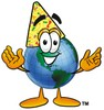 Cartoon Globe Character Wearing a Party Hat clipart