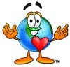 Cartoon Globe Character With a Heart clipart