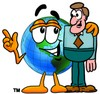Cartoon Globe Character With a Businessman clipart