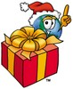 Cartoon Globe Character With Christmas Present clipart