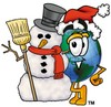 Cartoon Globe Character With a Snowman clipart