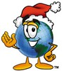 Cartoon Globe Character Wearing a Santa Hat clipart