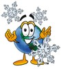 Cartoon Globe Character With Snowflakes clipart