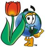 Cartoon Globe Character With a Red Tulip clipart