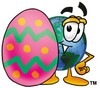 Cartoon Globe Character With an Easter Egg clipart