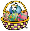 Cartoon Globe Character With an Easter Egg Basket clipart