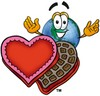Cartoon Globe Character With Valentine