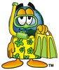 Cartoon Globe Character Wearing Scuba Gear clipart