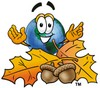 Cartoon Globe Character With Fall Leaves and Acorns clipart