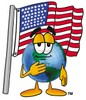 Cartoon Globe Character Saying The Pledge of Allegiance clipart