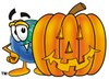Cartoon Globe Character Beside Halloween Jackolantern clipart