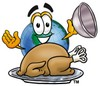 Cartoon Globe Character Uncovering Thanksgiving Turkey clipart