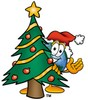 Cartoon Globe Character With a Christmas Tree clipart