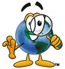 Cartoon Globe Character Looking Through  Magnifying Glass clipart