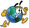 Cartoon Globe Character Running clipart