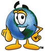 Cartoon Globe Character Pointing Finger clipart