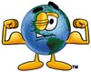 Cartoon Globe Character Flexing Muscles clipart