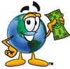 Cartoon Globe Character With Money clipart