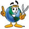 Cartoon Globe Character With Scissors clipart