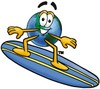 Cartoon Globe Character Surfing clipart