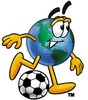 Cartoon Globe Character Playing Soccer clipart