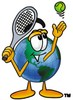 Cartoon Globe Character Playing Tennis clipart