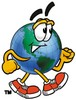 Cartoon Globe Character Jogging clipart