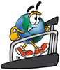 Cartoon Globe Character Running On a Treadmill clipart