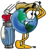 Cartoon Globe Character Golfing clipart