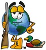 Cartoon Globe Character With a Bird Hunting Rifle clipart